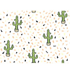 Cactus hand-drawn seamless pattern vector image