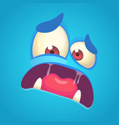 cartoon angry monster face blue vector image vector image