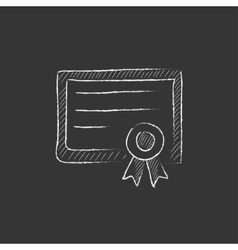 Certificate drawn in chalk icon vector