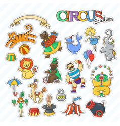 circus cartoon stickers collection with chapiteau vector image