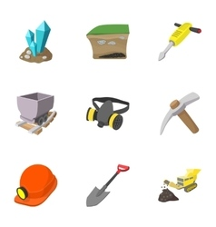 Coal mining icons set cartoon style vector