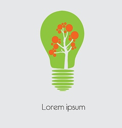 Concept tree in light bulb symbol of renewable vector image vector image