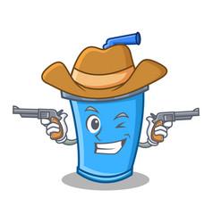 Cowboy soda drink character cartoon vector