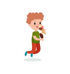 cute boy feeling happy with his ice cream cartoon vector image vector image