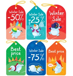 Cute Christmas tags set vector image vector image