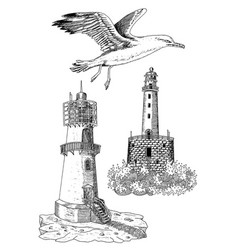 design set with old light houses and gull vector image vector image
