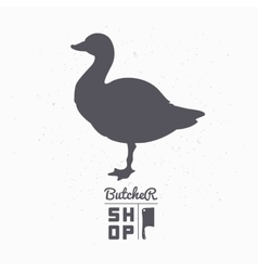 Farm bird silhouette goose meat butcher shop vector