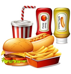 Fastfood meal with two kind of sauces vector image
