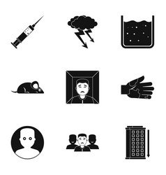 Fears and phobias icon set simple style vector