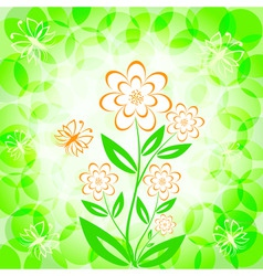 flower bouquet with butterfly vector image vector image