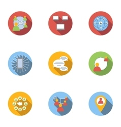 Global internet icons set flat style vector