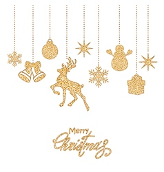 Golden Christmas decorations vector image vector image