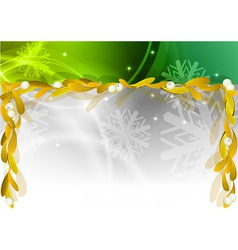 golden mistletoe under the green banner vector image