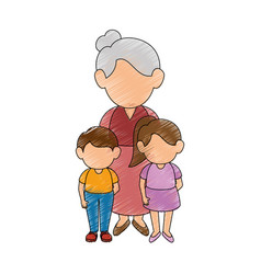 Grandmother and kids vector