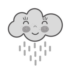 Grayscale kawaii happy cloud raining with close vector