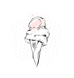 Hand drawn graphic brush drawing ice cream vector