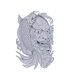 hannya mask and koi fish drawing vector image vector image