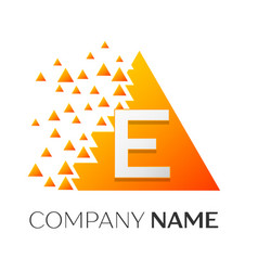 letter e logo symbol on colorful triangle vector image