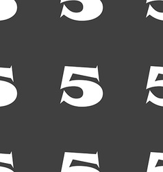 Number five icon sign seamless pattern on a gray vector