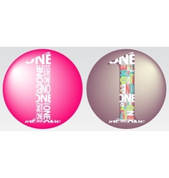Number One Filled with Colourful Words vector image vector image