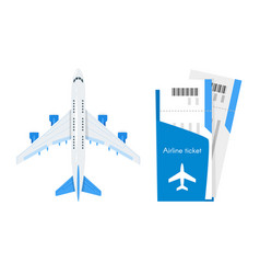 Plane with airline tickets vector