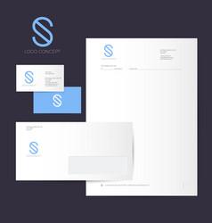 s logo identity blue line style vector image