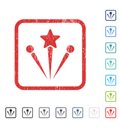 Salute fireworks icon rubber watermark vector