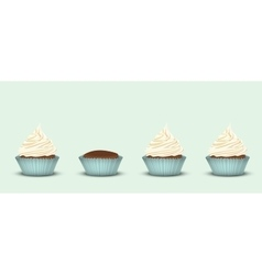 Set of 4 cupcakes vector