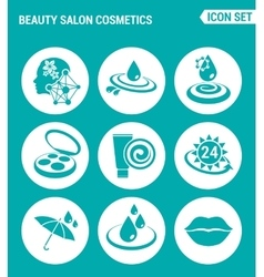 set of round icons white Beauty salon cosmetics vector image