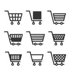 Shopping cart icons set on white background vector