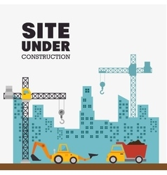 Site under construction with building and vector