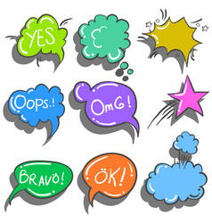 Text balloon style collection doodles vector