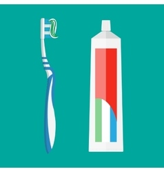 toothpaste and tooth brush vector image vector image