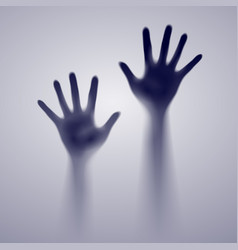 Two open hands in the gray mist of designer vector