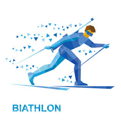 winter sports - biathlon man skiing with rifle vector image vector image