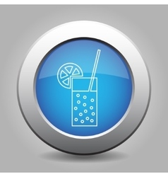 Blue metal button-glass with drink straw citrus vector