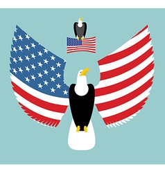 American eagle most powerful bird and us flag vector