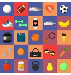 Athletic equipment and nutrition icons set vector