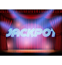 jackpot stage with red curtain vector image