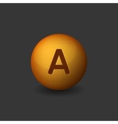 Vitamin A Orange Glossy Sphere on Dark Background vector image