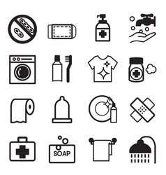 hygiene icons set vector image