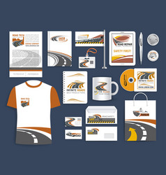 corporate templates for road construction company vector image
