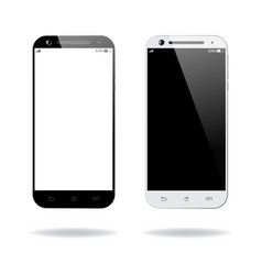 Black and white smartphones isolated vector