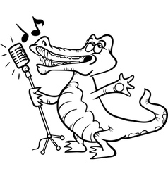 Singing crocodile coloring page vector