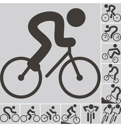 2292 set of cycling icons vector