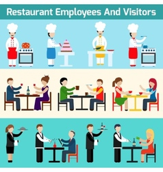 Restaurant employees and visitors vector