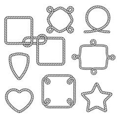 Set of nautical rope frames vector image
