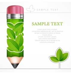 Green leaves pencil vector