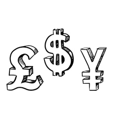 Dollar pound and yen currency signs vector