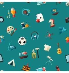 Pattern of modern flat design hobby icons and vector
